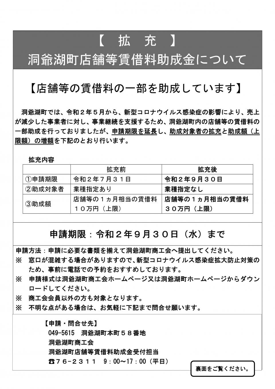 店舗等賃借料助成金(表)